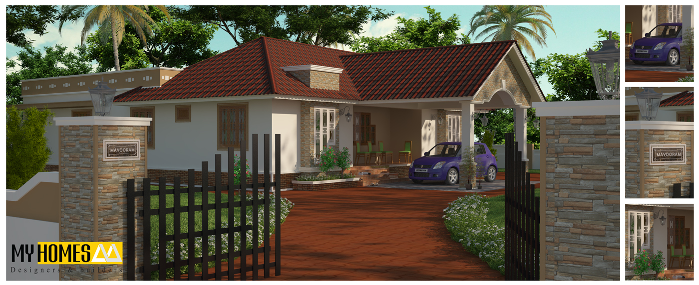 Low cost 3 bedroom kerala house plans elevation design india Low cost home design in india