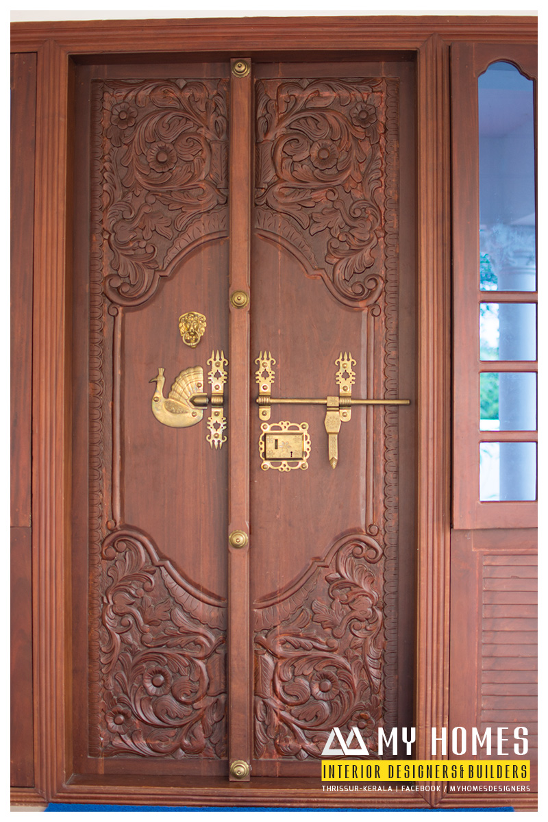 Kerala house front double door designs american hwy for Double door designs for main door
