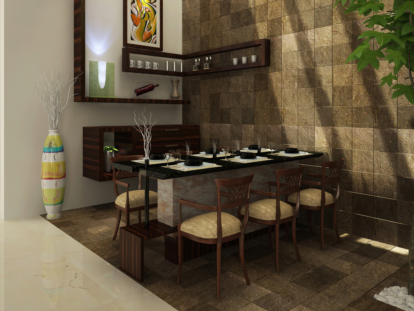 Dining kitchen living room interior designs kerala home for Room design of house