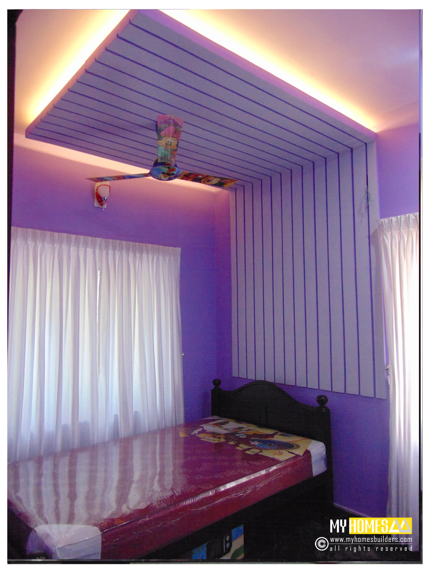 Simple style interior ideal kids bedroom designs in kerala for New house bedroom ideas