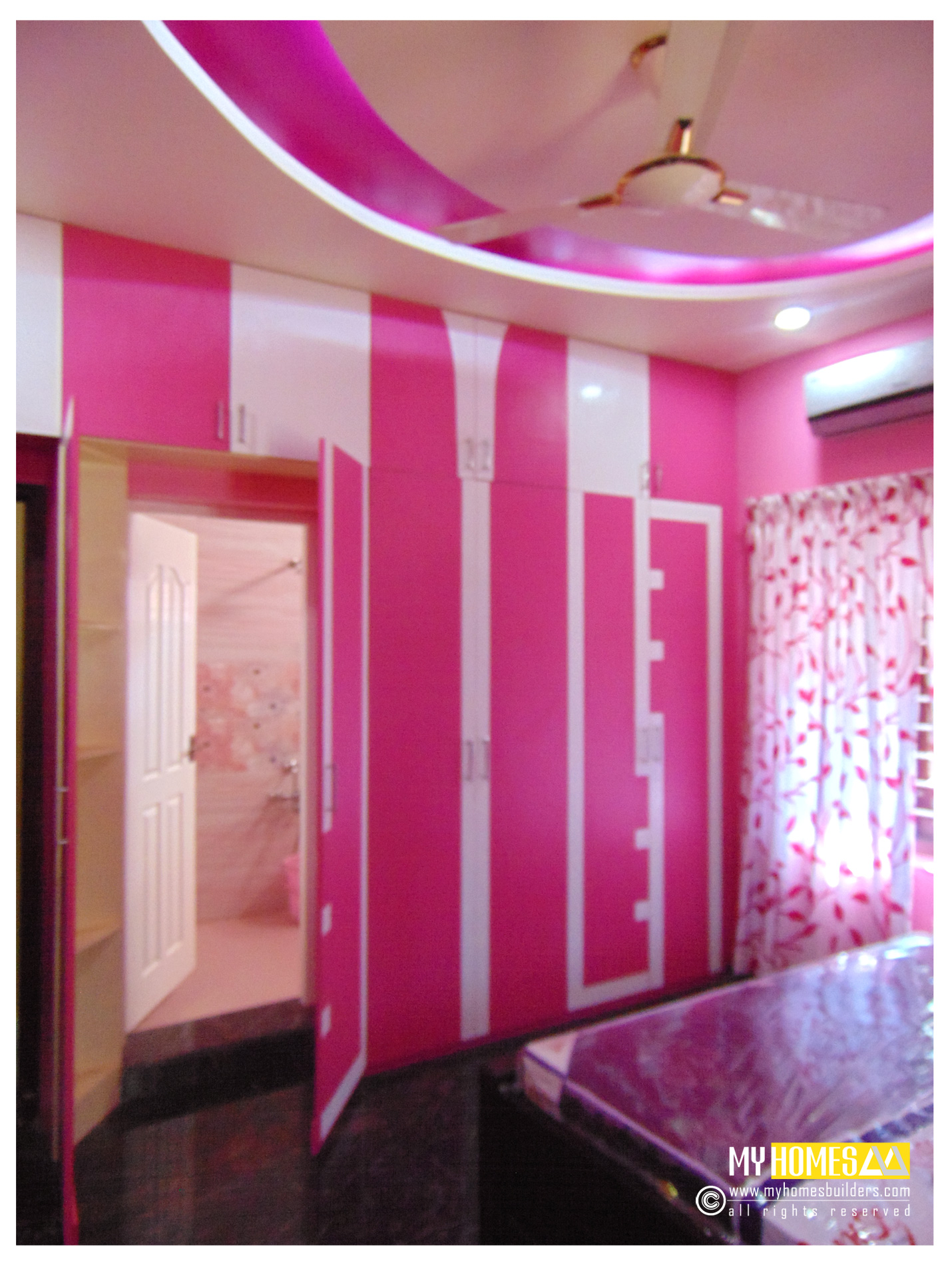 Modern interior idea for home bedroom designs kerala india for Bathroom interior design kerala