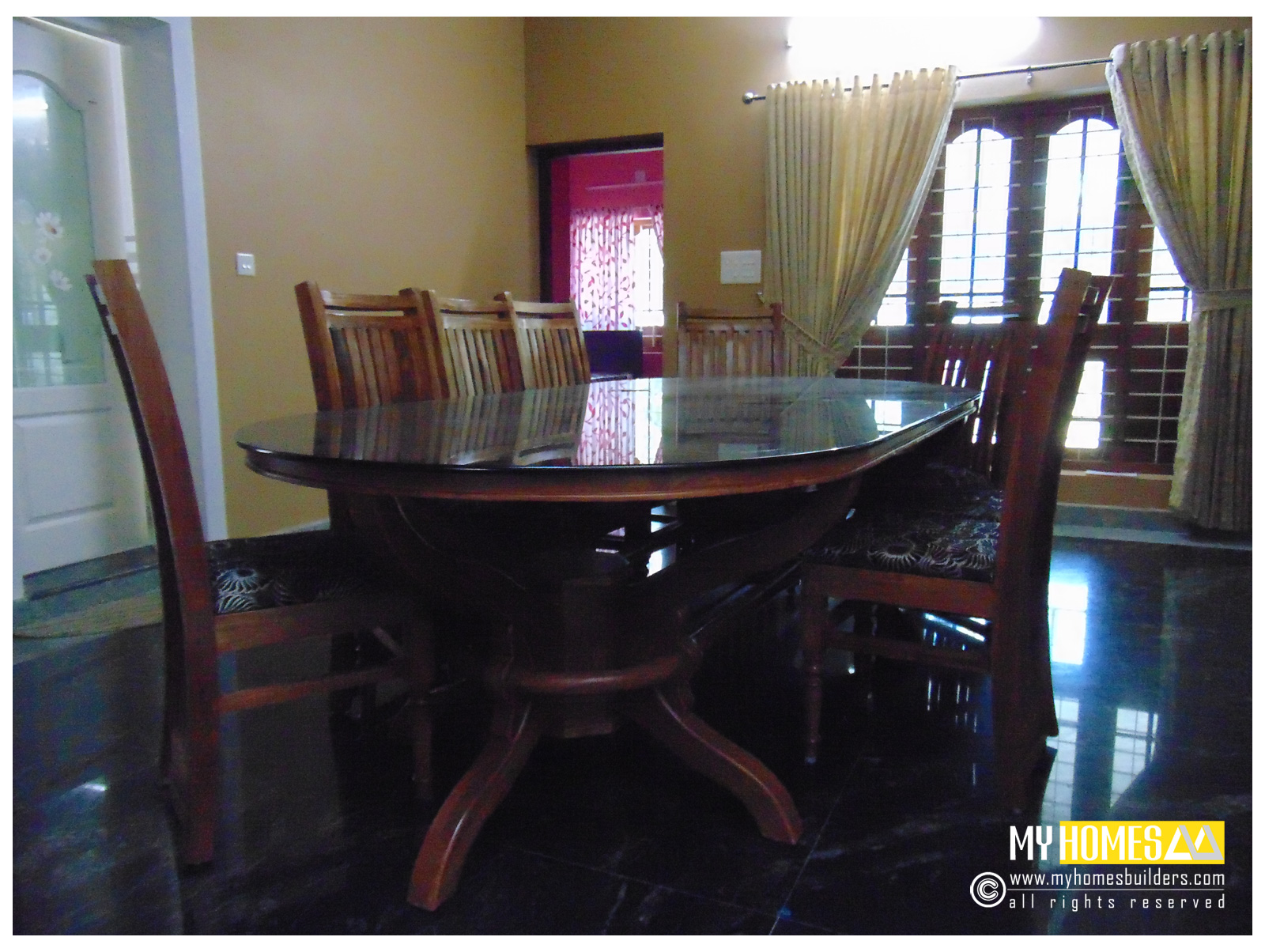 dining room table, dining room interior, modern room dining rooms in kerala, kerala homes Dining rooms