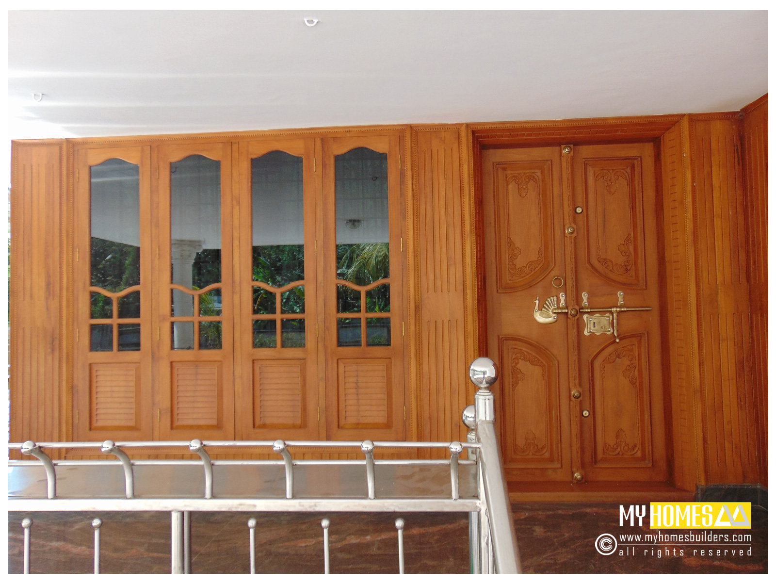 Single and double style door design kerala for house in india for Entrance double door designs for houses