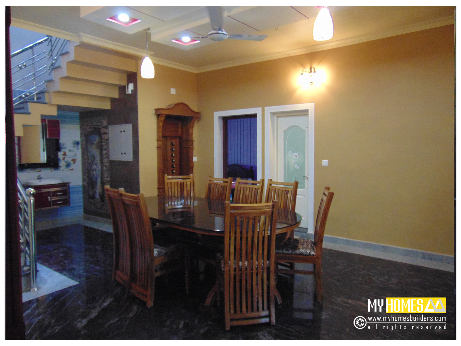 Latest ideas for dining room design kerala from my homes for Dining room interior images