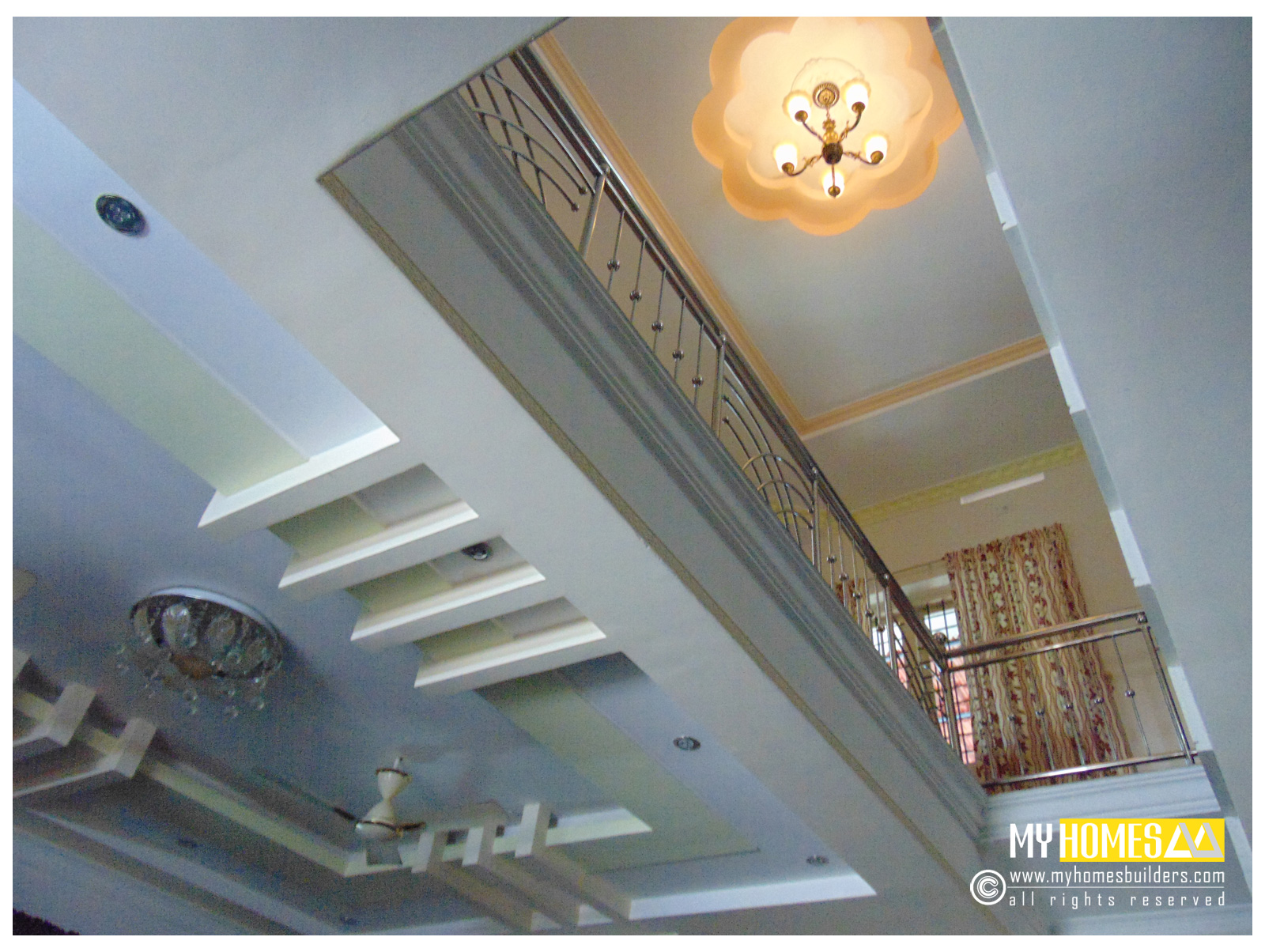 Idea for homes staircase designs kerala for Kerala homes interior designs