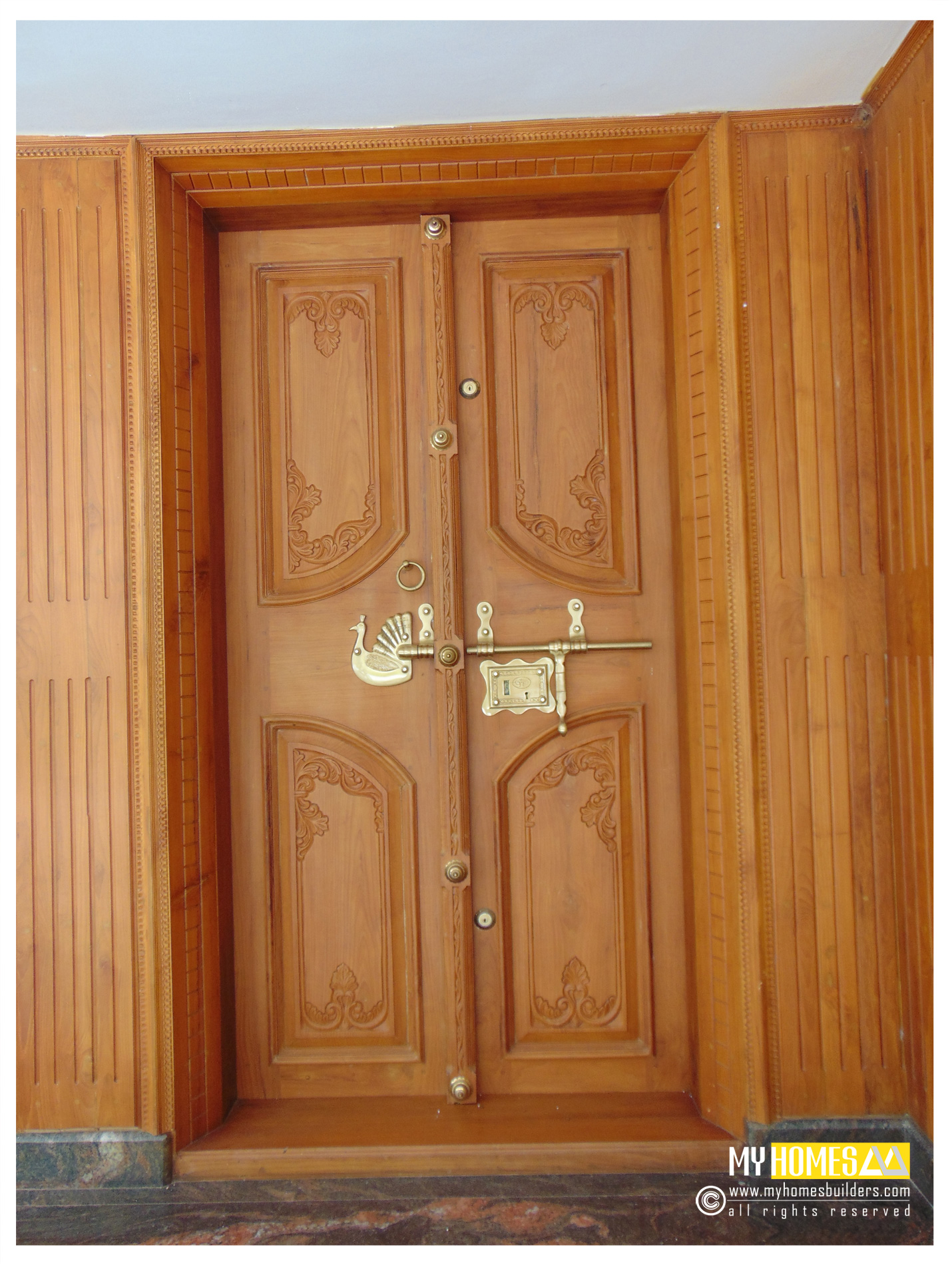 New idea for homes main door designs in kerala india for Main entrance double door design