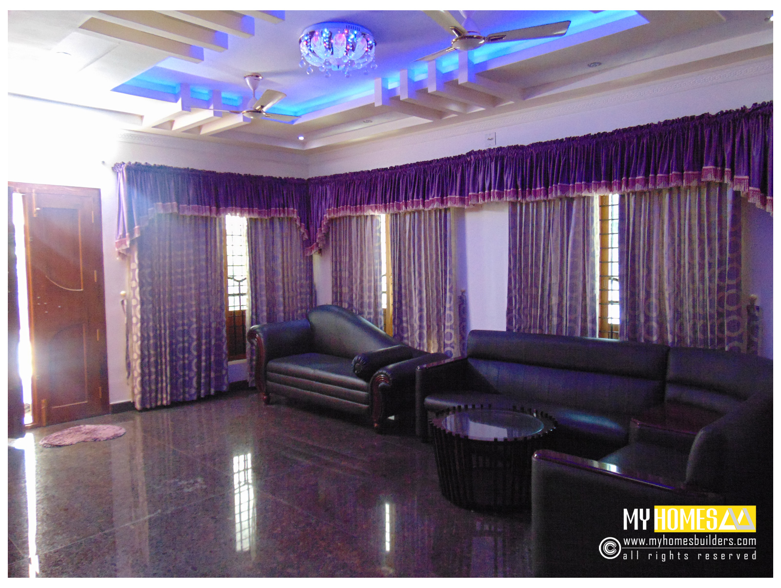 Living room interior designs in kerala - Latest interior curtain design ...