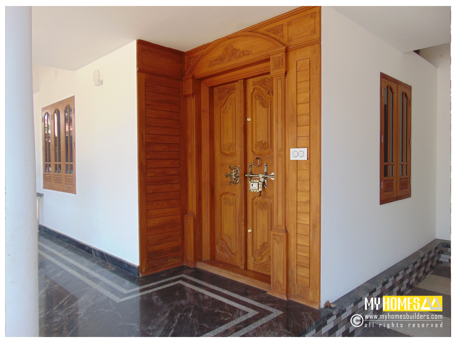 New idea for homes main door designs in kerala india for Indian main double door designs