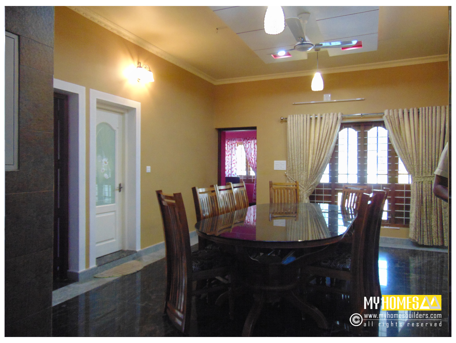 Latest ideas for dining room design kerala from my homes for Dining room ideas kerala