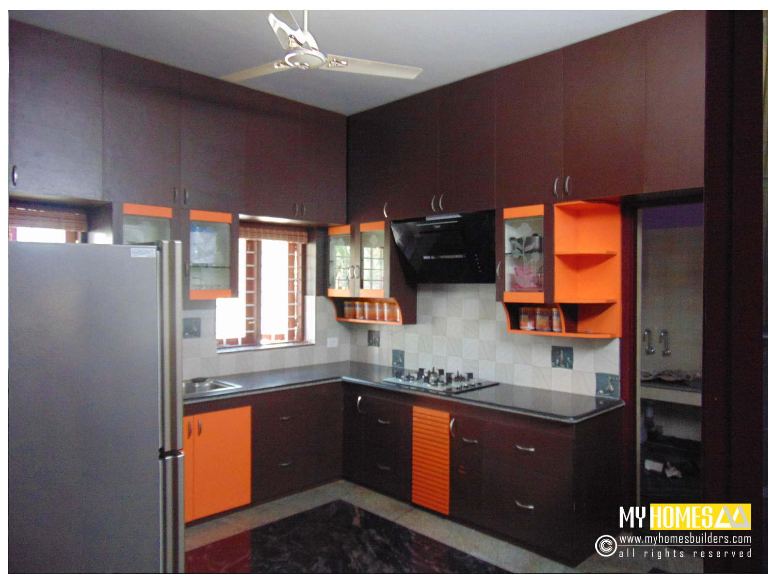 Modular kitchen interior design type for Kitchen design kerala