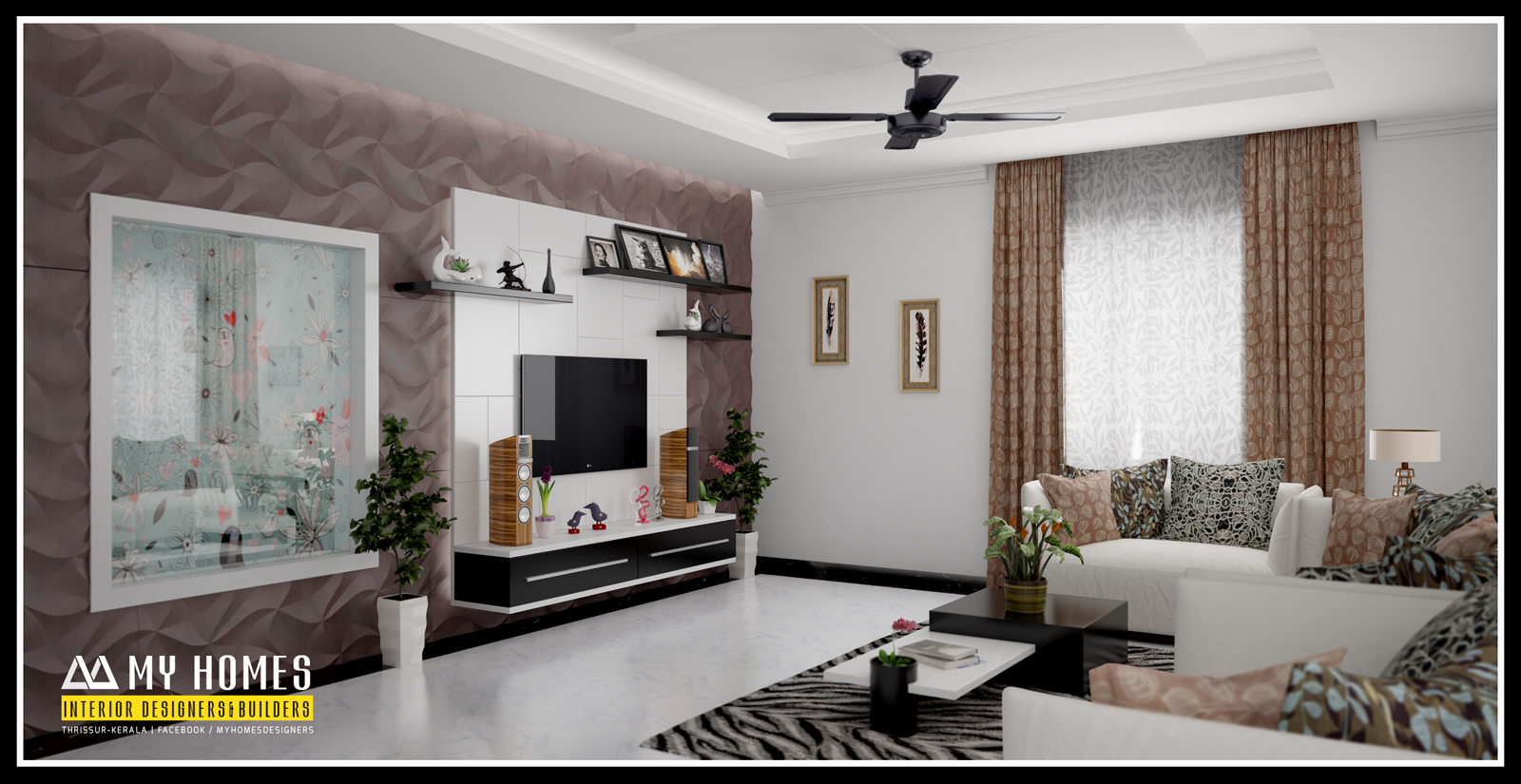 Kerala living room interiors interior ideas for Kerala interior designs