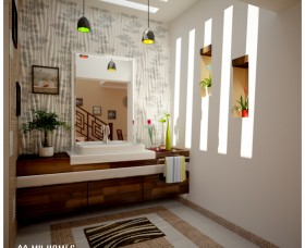 Wash area  styles for home interior design in kerala