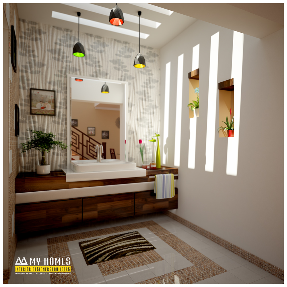 Hand wash area design idea for home interior design in kerala for Bathroom interior design kerala