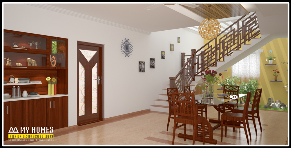Dining room interior and wooden dining table designs kerala for Dining hall wall design