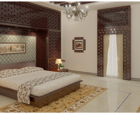 Traditional style bedroom interior design in kerala