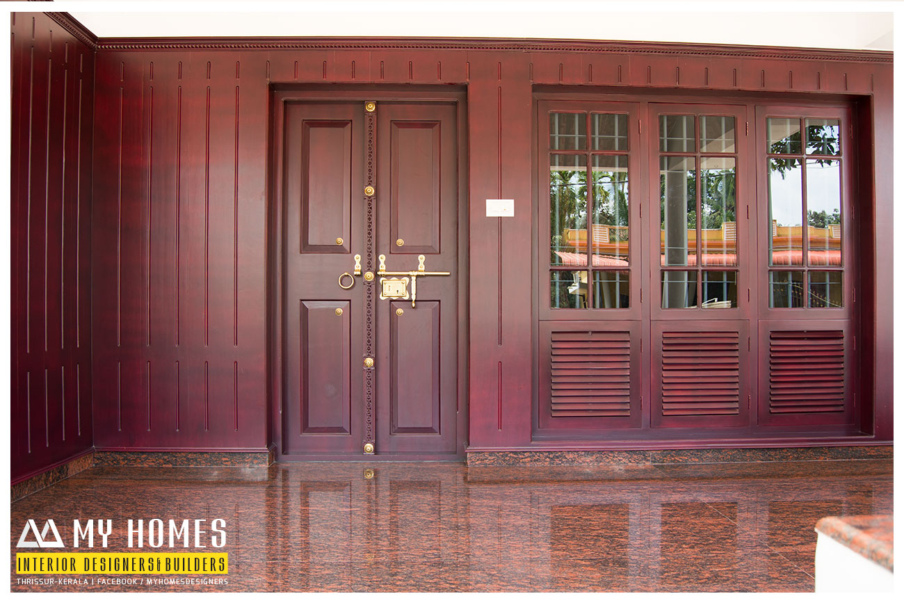 Traditional front door designs kerala for Home door design