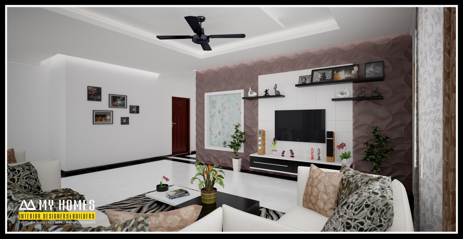 living room designs in kerala